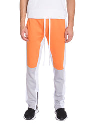 COLOR BLOCK TRACK PANTS- ORANGE/ GREY