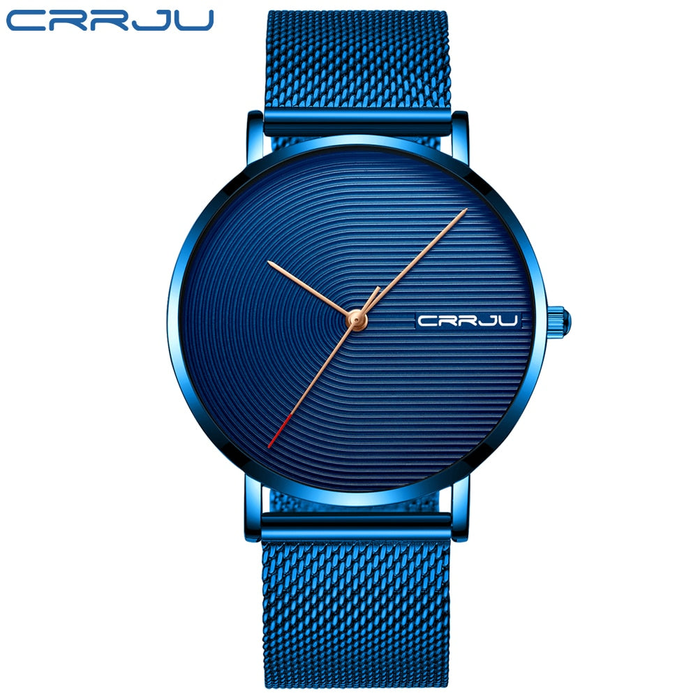 Minimalist Blue Ultra thin Mesh Strap Watch