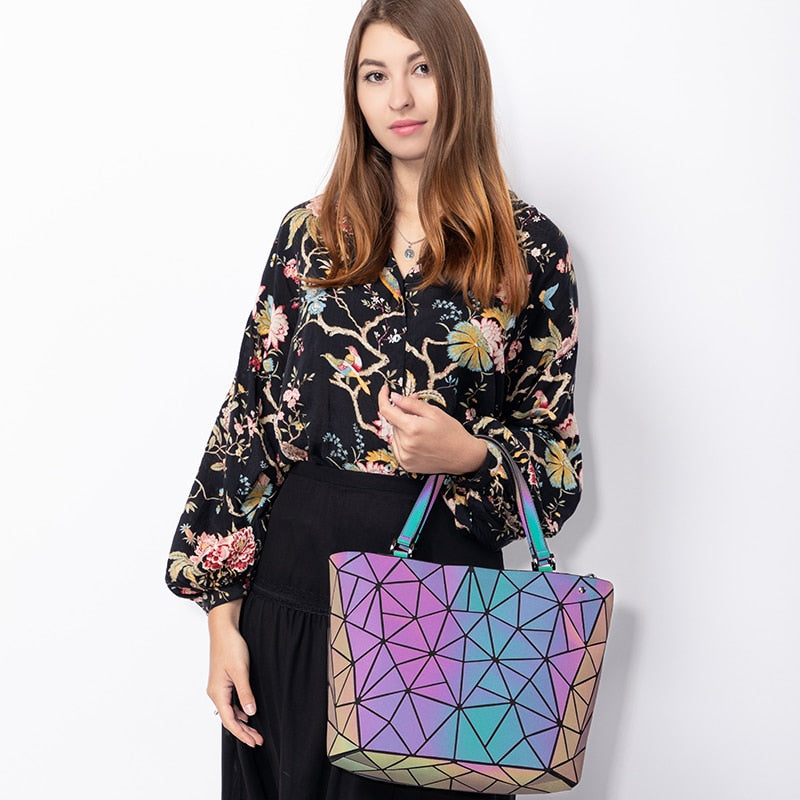 Luminous Geometric Handbag For Women