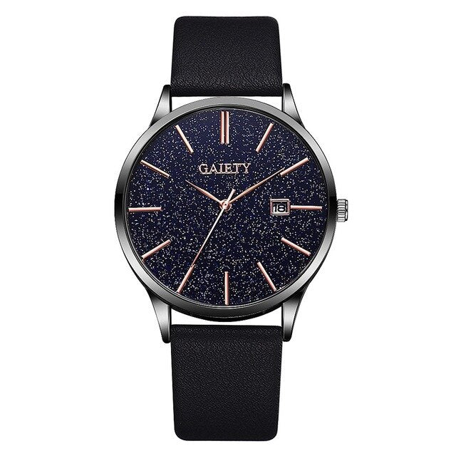 Men Simple Black Leather Watches