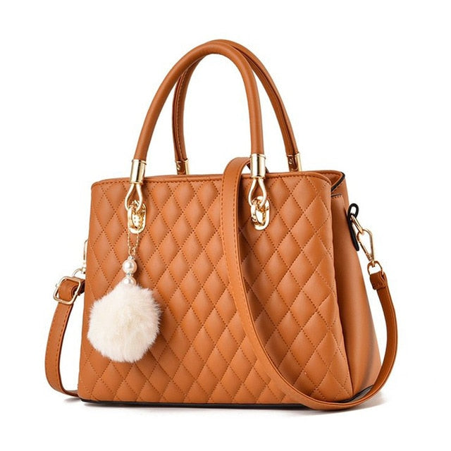 Leather Plush Ball Handbags