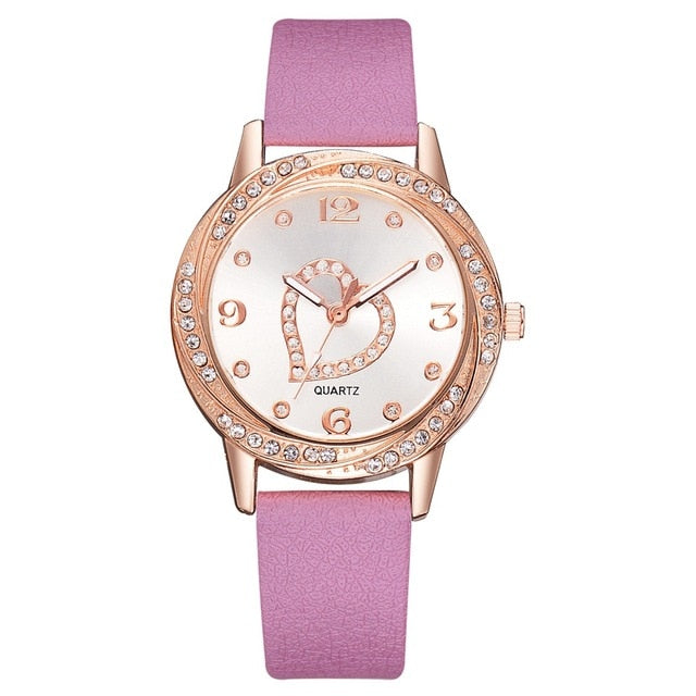 Women Heart Fashion Leather Watches
