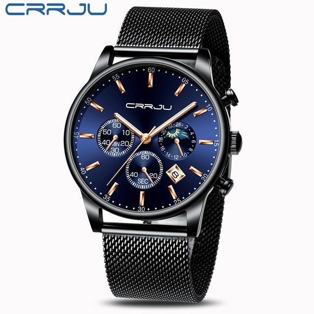Men Blue Dial Mesh Belt Wrist Watch