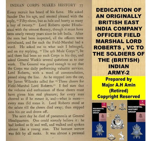 Dedication of Lord Roberts to British Indian Army