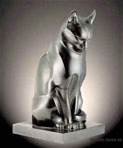 Belgian Marble Cat Sculpture by Edouard Marcel Sandoz of France 1923