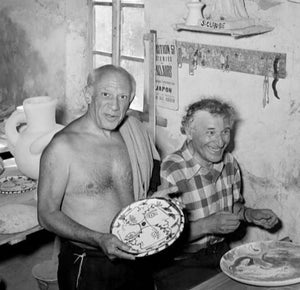 Pablo Picasso and Marc Chagall at a Madoura ceramics workshop in Vallauris, 1948.