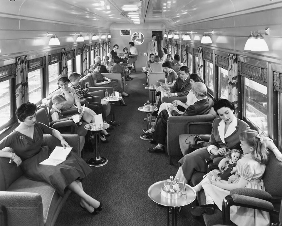 Lounge Car aboard a Union Pacific Streamliner in the 1950s