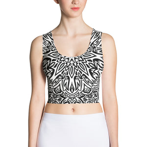 The Barely Floral Mandala Black and White Crop Top