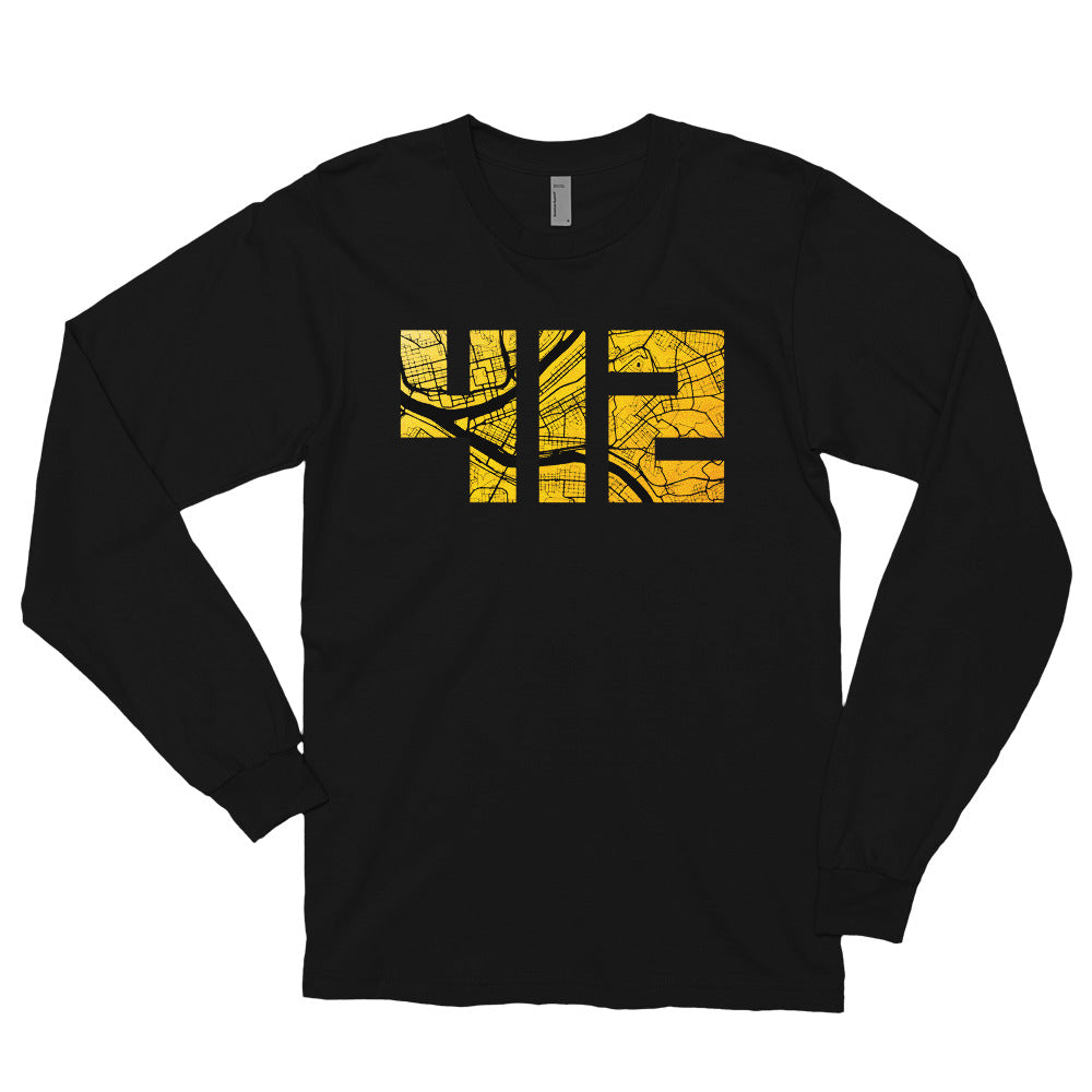 412 Pittsburgh Map Long Sleeve T-Shirt