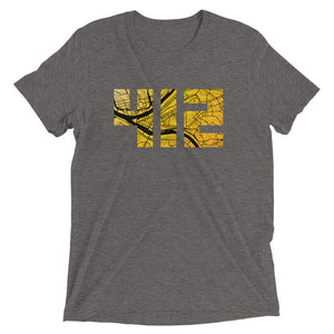 412 Pittsburgh Map in Black and Yellow Unisex Tri-Blend T-Shirt