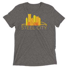 Load image into Gallery viewer, Pittsburgh Rainbow Pop Downtown Skyline Tri-Blend T-Shirt