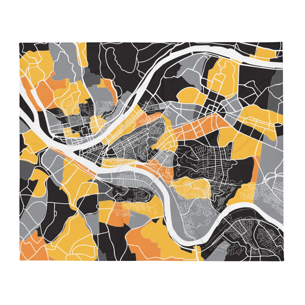 Pittsburgh Map Throw Blanket