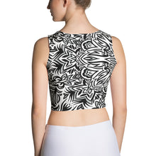 Load image into Gallery viewer, The Barely Floral Mandala Black and White Crop Top
