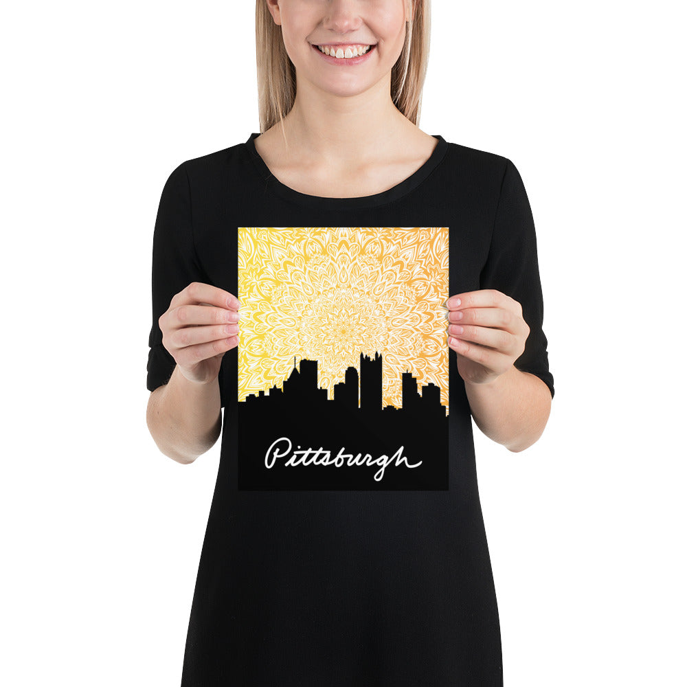 Pittsburgh Sunset Mandala Poster