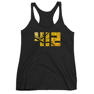 Pittsburgh 412 Map in Black and Yellow Tri-Blend Tank Top