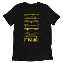 Load image into Gallery viewer, Pittsburgh Bridges Silhouettes Tri-Blend T-Shirt