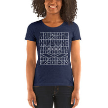 Load image into Gallery viewer, Knitting Pattern Symbols Women's Tri-Blend T-Shirt
