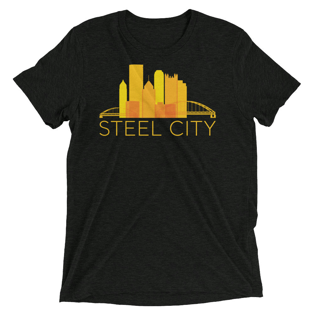 Pittsburgh Rainbow Pop Downtown Skyline Tri-Blend T-Shirt