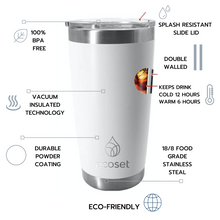Load image into Gallery viewer, Insulated travel mug 20oz specifications