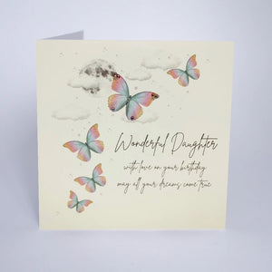 Five Dollar Shake Butterfly Moon Wonderful Daughter Birthday card