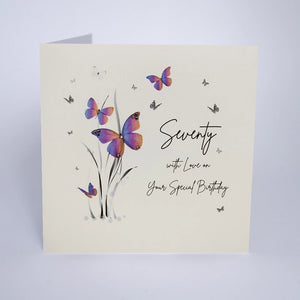Five Dollar Shake Butterfly Moon Age 70 Birthday card