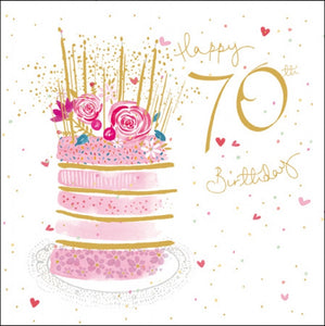 'Pink' Cake 70th Birthday Card