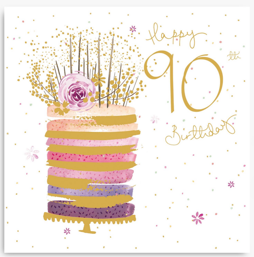 Woodmansterne 'Pink' Cake 90th Birthday Card