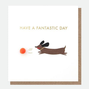 Mini Poms Sausage Dog Birthday Card