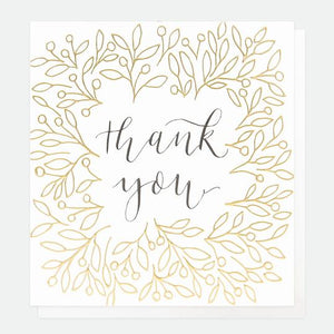 Gold Leaves & Calligraphy Thank You Card