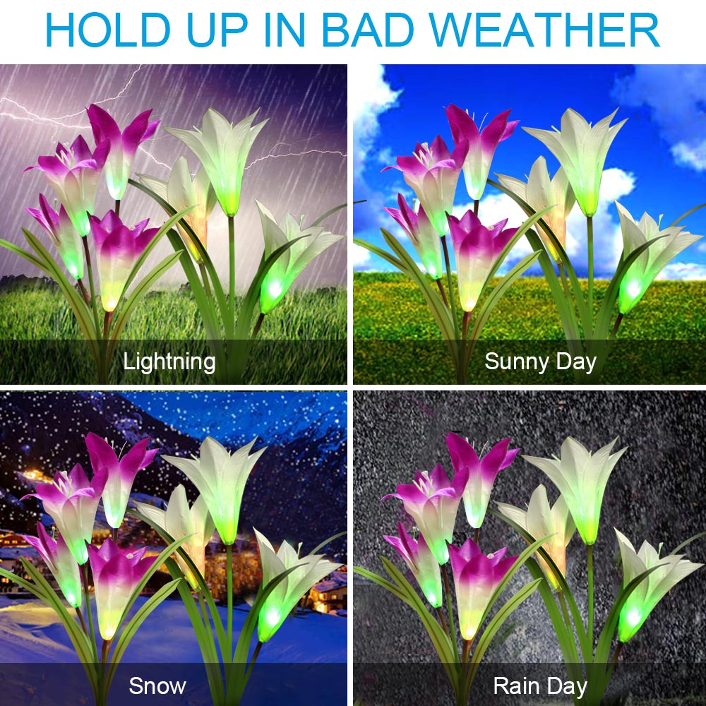 Spring Artificial Lily Solar Garden Stake Lights