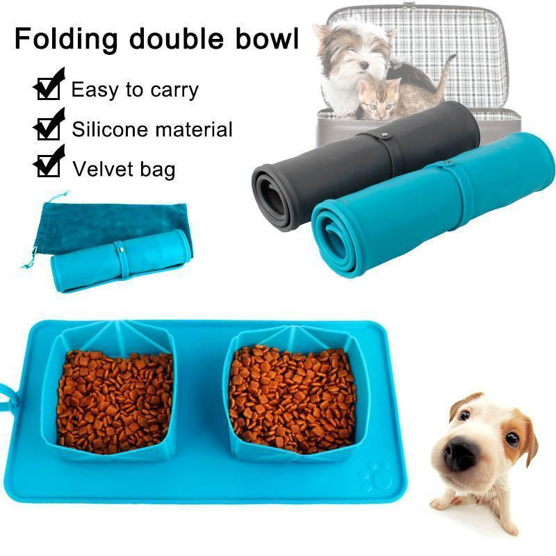 Double Foldable Silicone Pet Bowl