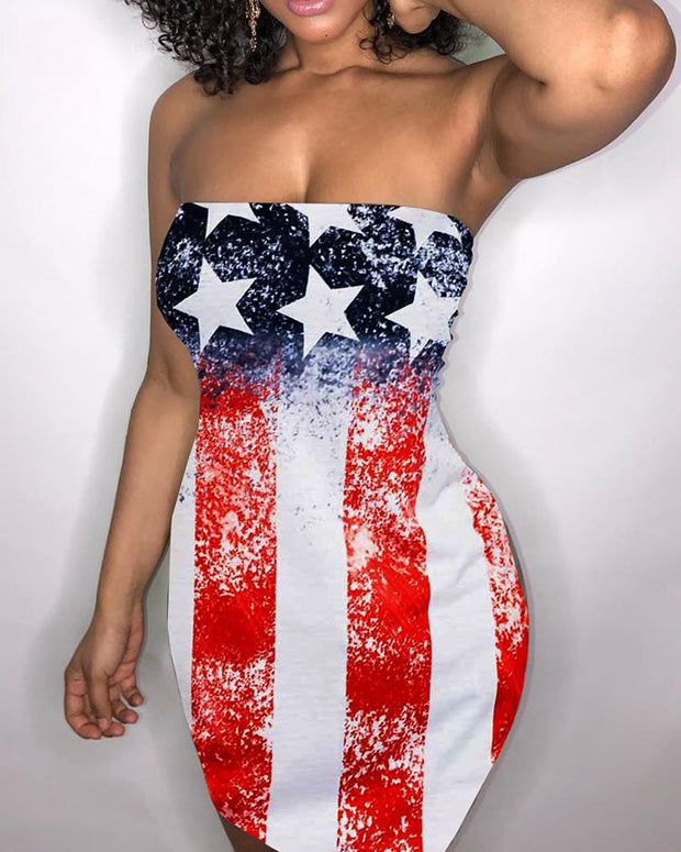 Sexy Strapless Flag Print Bodycon Mini Dress