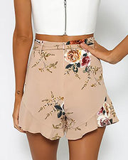 Floral Belted High Waist Pleated Casual Shorts
