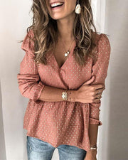 Dot V-Neck Long Sleeve Blouse
