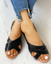 Open Toe Crisscross Slingback Flat Sandals