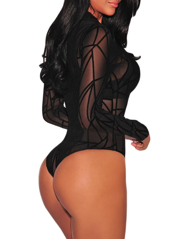 Plus Size Sheer Mesh Geometric Bodysuit