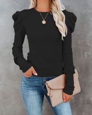 Solid Bubble Sleeve Fitting Blouse