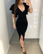 Solid Ruffles Design Slit Dress