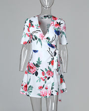 Floral Print V-Neck Wrap Casual Dress