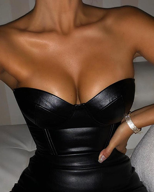 Off Shoulder Sweetheart PU Bodycon Mini Dress
