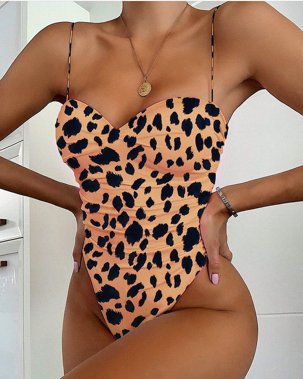 Print Spaghetti Strap One Piece Swimwear