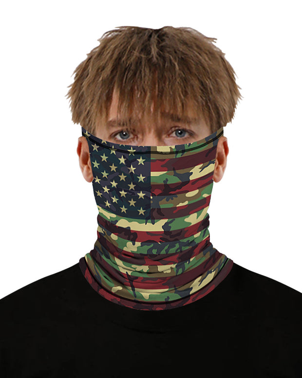 Camouflage Flag Print Breathable Ear Loop Face Bandana Headwrap