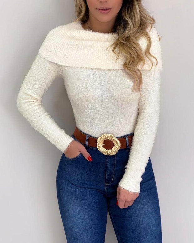 Solid Long Sleeve Fluffy Sweater