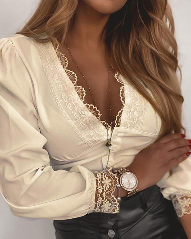 Splicing Lace Solid Color Long Sleeve Blouse