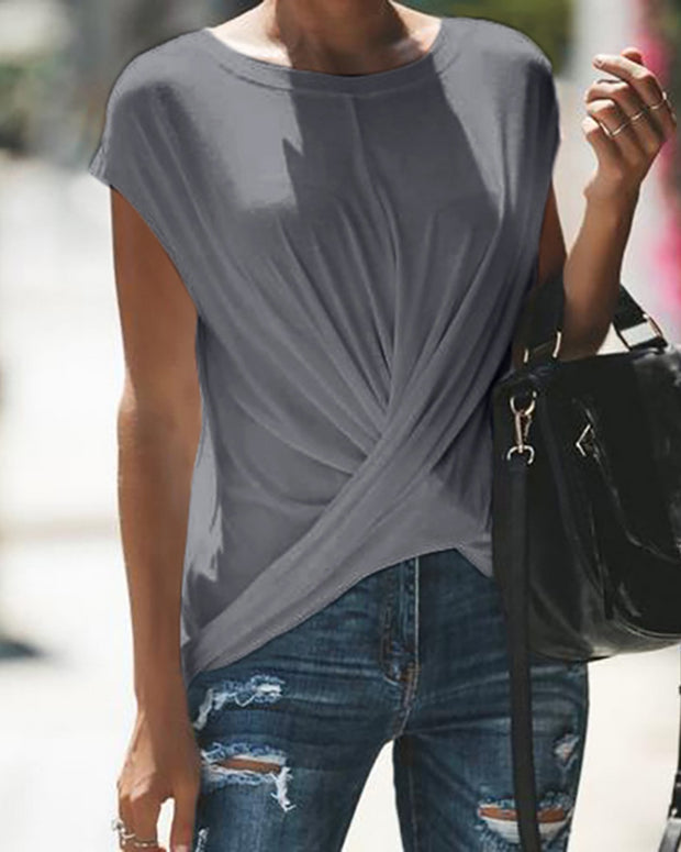 Solid Short Sleeve Crisscross Ruched T-Shirt