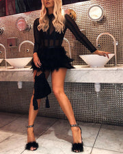 Mesh Long Sleeve Faux Fur Dress