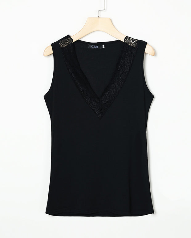 Sleeveless V-Neck Lace Insert Casual Top