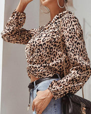 V Neck Leopard Print Crop Top