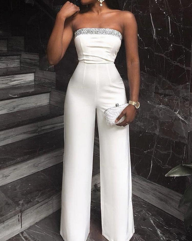 Glitter Detail Wide Leg Tube Jumpsuit