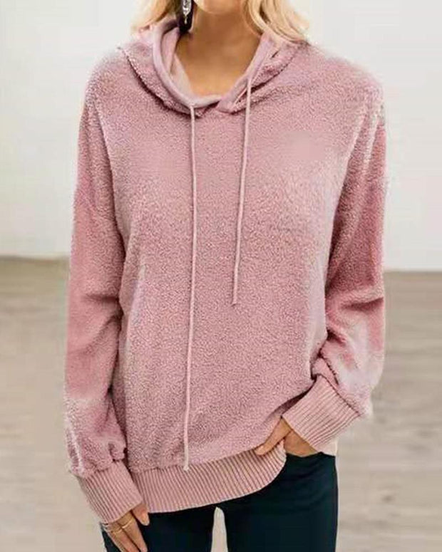 Solid Color Long Sleeve Hooded Sweatshirt
